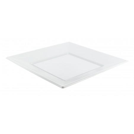 Viereckiger Plastikteller Flach weiß 170mm (375 Einh.)