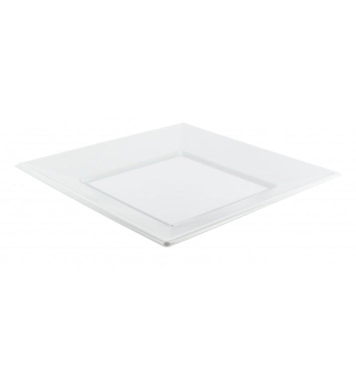 Viereckiger Plastikteller Flach weiß 170mm (25 Stück)
