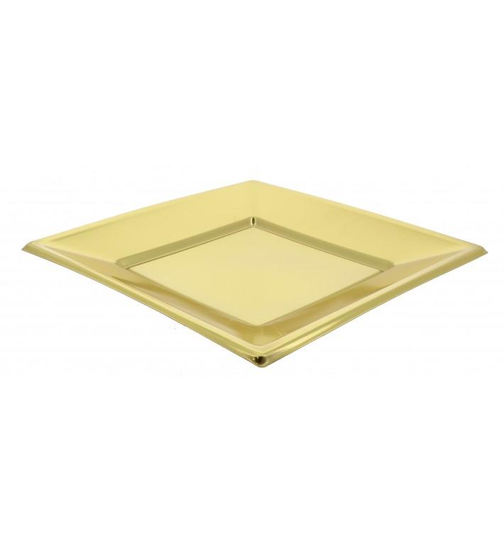 Viereckiger Plastikteller Flach Gold 230mm (25 Stück)