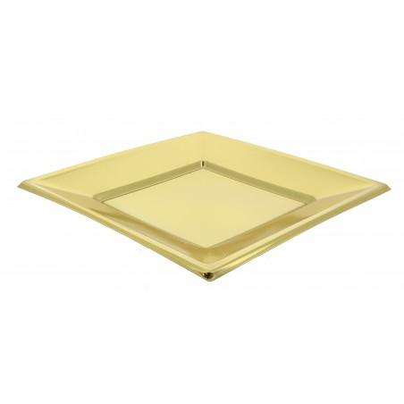 Viereckiger Plastikteller Flache Gold 230mm (3 Einh.)