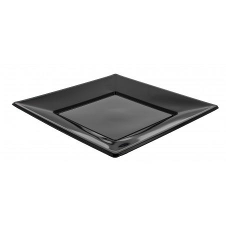 Viereckiger Plastikteller Flach schwarz 230mm (5 Stück)