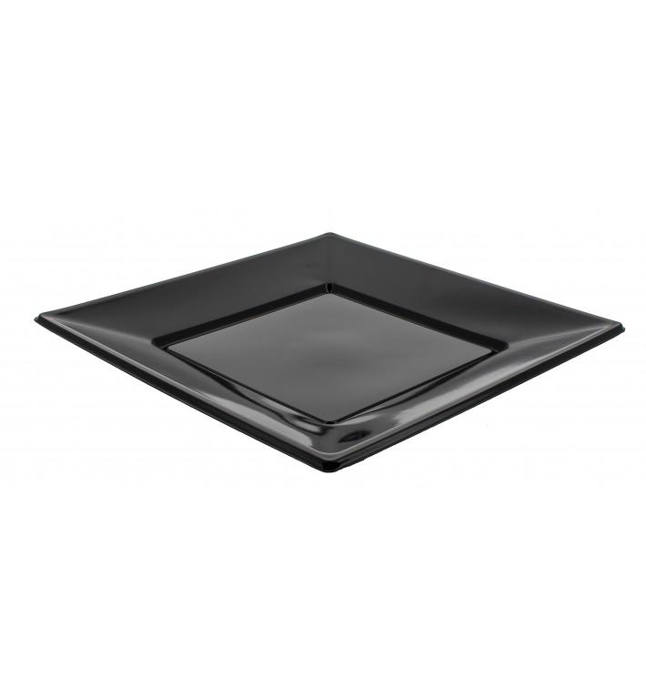 Viereckiger Plastikteller Flach schwarz 170mm (25 Stück)