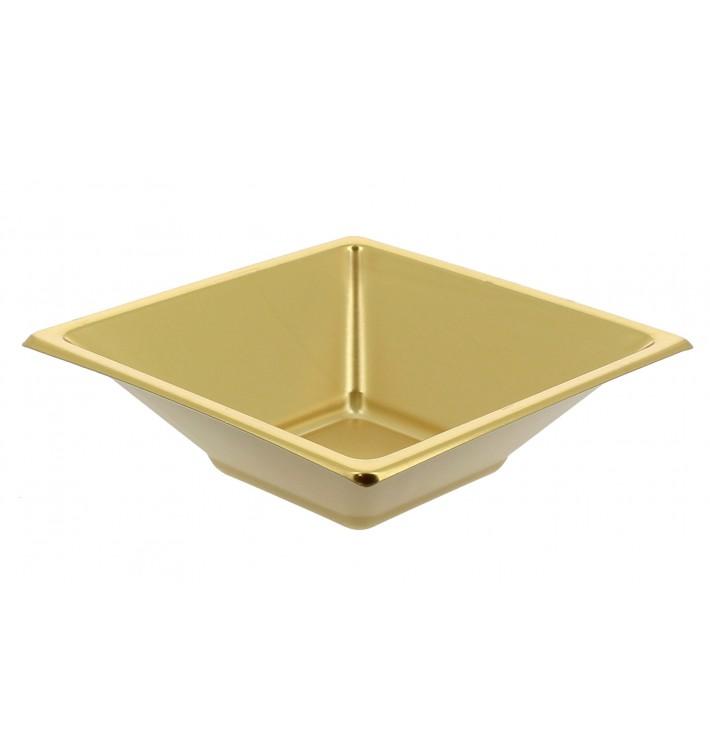 Viereckiger Plastikschale Gold 120x120x40mm (5 Einh.)