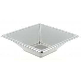 Viereckige Plastikschale Silber 12x12cm (5 Stück)