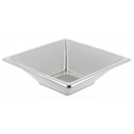 Viereckiger Plastikschale Silber 120x120x40mm (5 Einh.)
