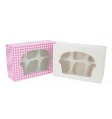 Cupcake Box für 6 Cupcakes 24,3x16,5x7,5cm weiß (20 Stück)
