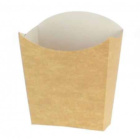 Kleiner Pommes Schütte Faltbox Kraft Verpackung 8,2x2,2x9cm (25 Einh.)