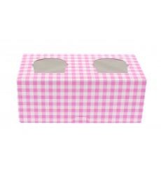 Cupcake Box für 2 Cupcakes 19,5x10x7,5cm pink