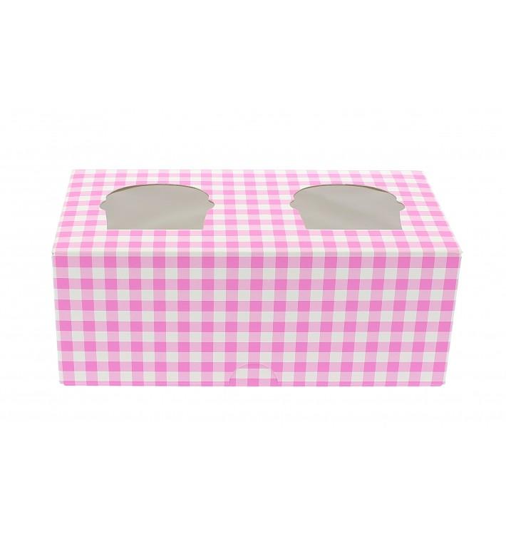 Cupcake Box für 2 Cupcakes 19,5x10x7,5cm pink (20 Stück)