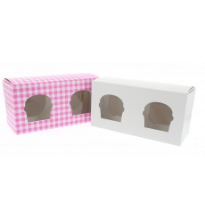 Cupcake Box für 2 Cupcakes 19,5x10x7,5cm weiß (20 Stück)