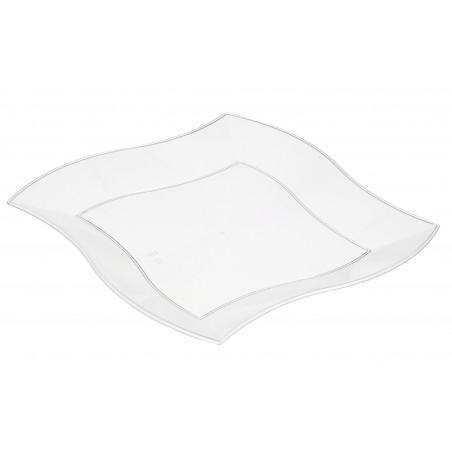 Viereckiger Plastikteller Flach Wellen weiß 180mm (450 Einh.)