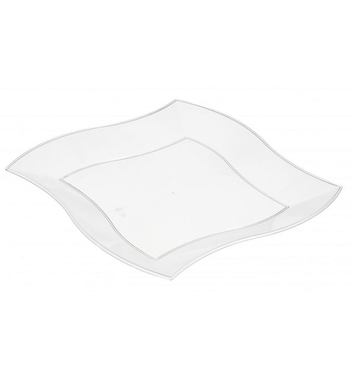 Viereckiger Plastikteller Flach Gewellt Weiß 230mm (5 Stück)