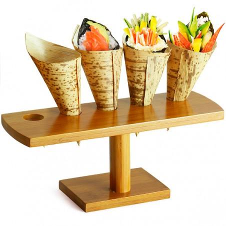 Halterung aus Bambus für 5 Spitztüten (10 Stück)