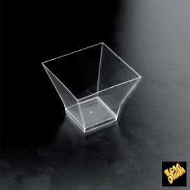 Plastikschüssel Verkostung Pagoda Transparent 62x62 mm (25 Einh.)