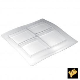 """Servierplatte """"FoodPoker"""" 4-geteilt Transparent 250x250mm (1 Stück)"""