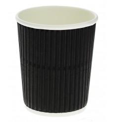 Kaffeebecher aus geriffeltem Karton aus Kraftpapier Schwarz 8 Oz/250ml Ø7,8cm (25 Stück)