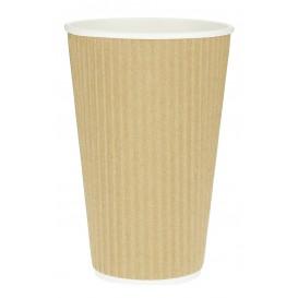 Kaffeebecher aus Wellpappe braun 16 Oz/480ml Ø8,7cm (25 Stück)