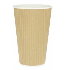 Kaffeebecher aus geriffeltem Karton aus Kraftpapier 16 Oz/480ml Ø8,7cm (25 Stück)