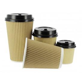 Kaffeebecher aus geriffeltem Karton aus Kraftpapier 4 Oz / 120ml Ø6,0cm (1.000 Stück)