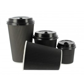 Kaffeebecher aus geriffeltem Karton aus Kraftpapier Schwarz 8 Oz/250ml Ø7,8cm (1.000 Stück)