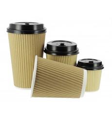 Kaffeebecher aus geriffeltem Karton aus Kraftpapier 12 Oz / 300ml Ø8,7cm (25 Stück)