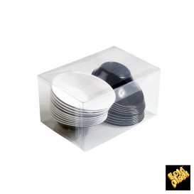 "Plastikschüssel ""Sodo"" Schwarz - Weiß 50 ml (12 Stück)"