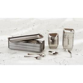 Kleiner Plastiklöffel metallisiert 130mm (1.000 Stück)