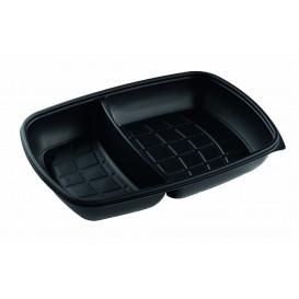 Plastikbehälter PP rechteckig schwarz 2-g. 28x20x4cm (50 Stück)