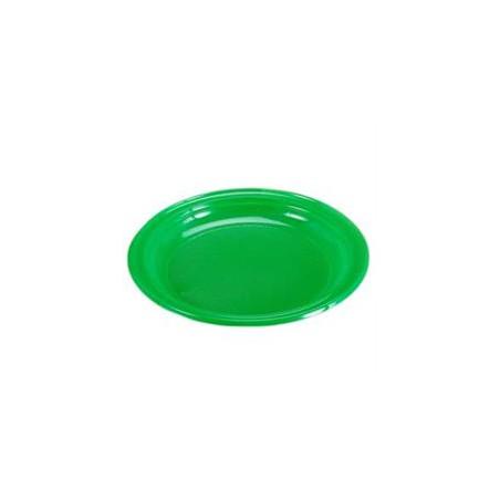 Plato Llano de Plastico PS Verde 205mm (Bolsa 10 Uds)
