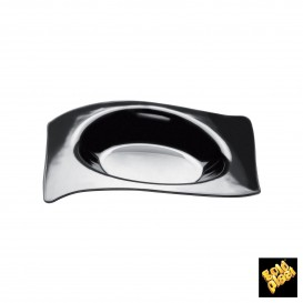 "Plastikteller ""Flat"" Schwarz 8x6,6 cm (50 Stück)"