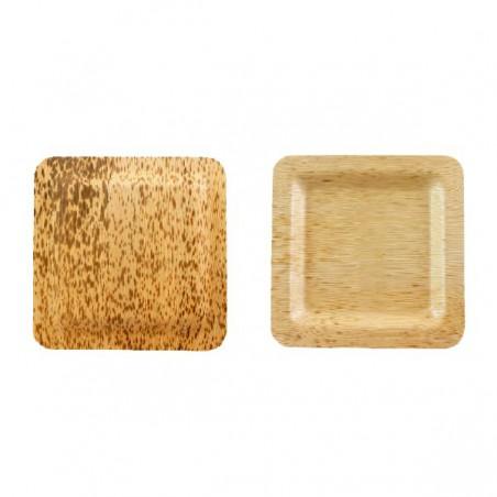 Teller aus Bambus Quadratisch 120x120x10mm (10 Stück)