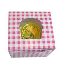 Cupcake Box für 1 Cupcake 11x10x7,5cm pink (20 Stück)