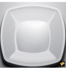 Plastikteller Flach Weiß Square PS 300mm (144 Stück)