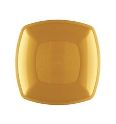 Plastikteller Flach Gold Square PP 230mm (12 Stück)