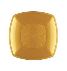 Plastikteller Flach Gold Square PP 230mm (300 Stück)
