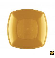 Plastikteller Flach Gold Square PP 180mm (12 Stück)