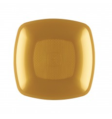 Plastikteller Tiefe Gold Square PP 180mm (300 Stück)