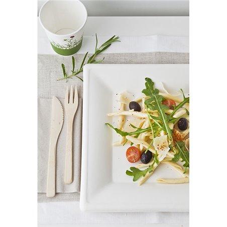 Quadratischer Teller Zuckerrohr Weiß 150x150mm (50 Stück)