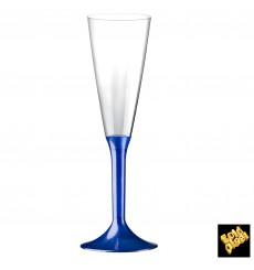 Sektflöte Plastik mit blauem Fuß 160ml 2T (20 Stück)