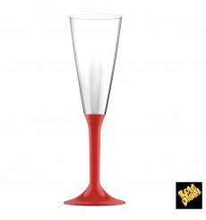 Sektflöte Plastik mit rotem Fuß 160ml 2T (20 Stück)