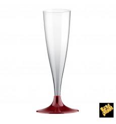 Sektflöte Plastik mit bordeauxfarbenem Fuß 140ml 2T (400 Stück)