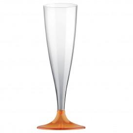Sektflöte Plastik mit orangem transp. Fuß 140ml 2T (400 Stück)