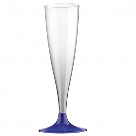 Sektflöte Plastik mit blauem Fuß 140ml 2T (400 Stück)