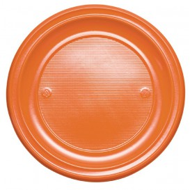Plastikteller flach Orange PS 220mm (30 Stück)