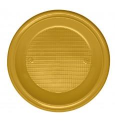 Plastikteller flach Gold PS 220mm (30 Stück)