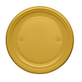 Plastikteller flach Gold PS 170mm (50 Stück)