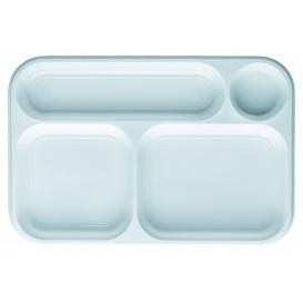 Servierplatten Weiß 4-Geteilt 360x240mm (100 Stück)