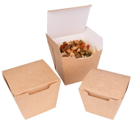 "Faltbox Pappe ""To Go"" Wok Kraft 950ml (25 Stück)"