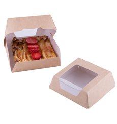 SnackBox mit Fenster Kraft Braun 140x140x50mm (250 Stück)