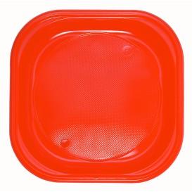 Plastikteller Platz PS flach Orange 200x200mm (30 Stück)